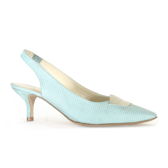Kristina pale mint pointed vegan low kitten heel slingback court ...