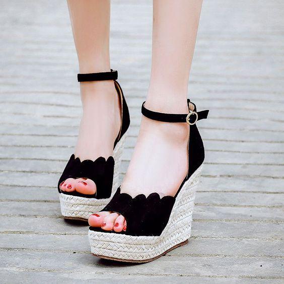 Boho Womens Stylish Peep Toe Ankle Strap High Wedge Heel Platform Sandals Pump