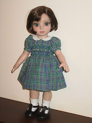 "Boneka Plaid Smocked Dress for Tonner 10"" Patsy, Ann Estelle, Linda McCall"