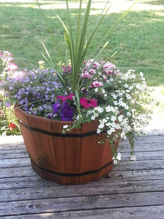 Wine Barrel Planter Container Gardening Pinterest Planters
