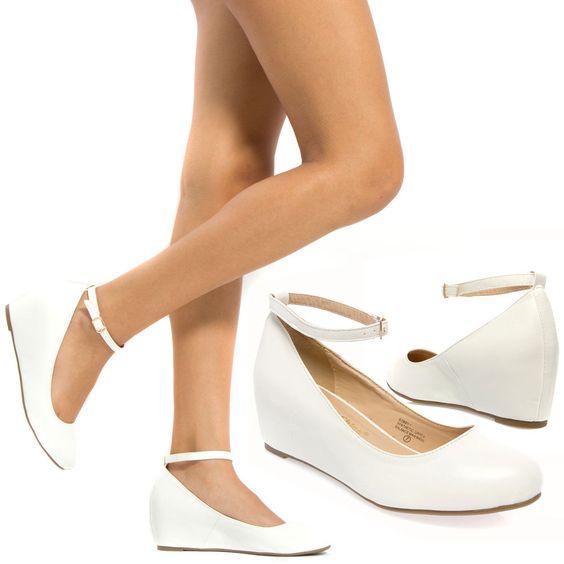Women White Mary Jane Ankle Strap Med Low Hidden Wedge Heel Ballet