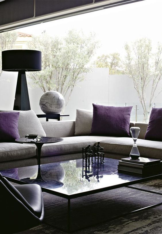 Interiors contemporary design time for an update in - Grey and purple living room furniture ...