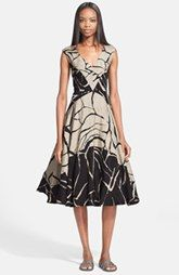 Tracy Reese Abstract Print Linen & Silk Jacquard Dress