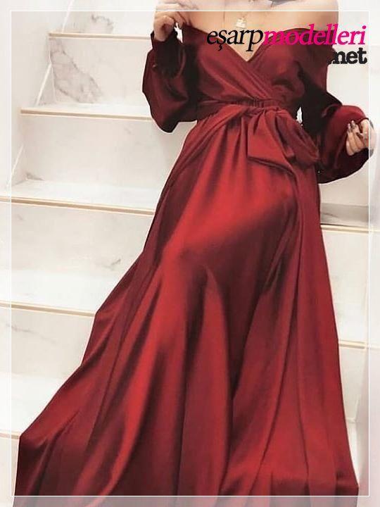 Parlak Bordo Abiye Modelleri 2020 Elbiseler Kiyafet Maksi Elbiseler