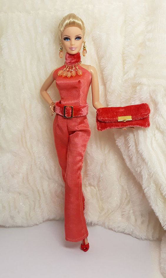 OOAK Handmade Pastel Red Silk Outfit Dress Bag Jewelry For Barbie Silkstone Doll #Sitar_Large_Super_Rich