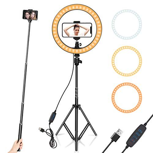 "10/"" LED Ring Light with Desk Tripod Phone Holder for Live Makeup Video Photo UK"