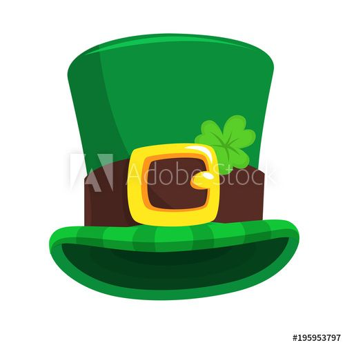 St Patrick S Day Green Leprechaun Hat With Clover Vector Illustration Drawkman Leprechaun Hats St Patricks Day Hat Leprechaun