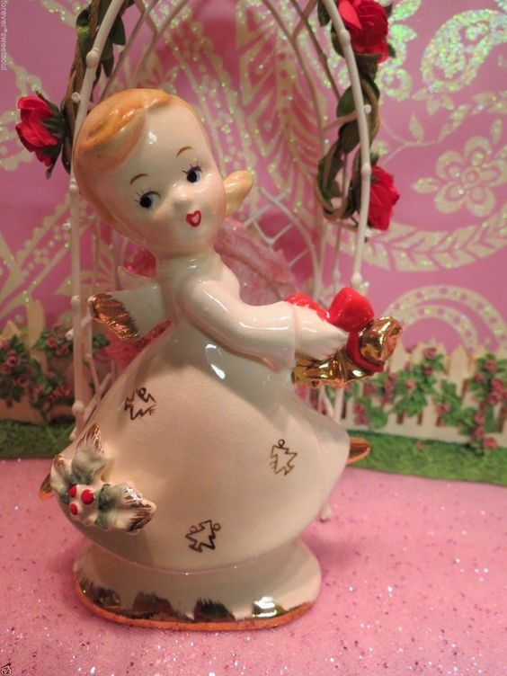 Vtg Dancing Christmas Angel Holds Gold Jingle Bells W Christmas Tree Dress CUTE