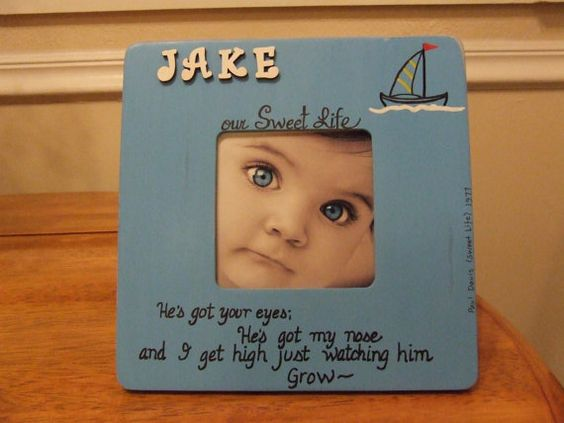 Baby Boy Frames boy nursery Personalized frame Fathers Day gift Baby frame Blue Sailboat Picture Frame Baby shower New Dad gift Mom gift