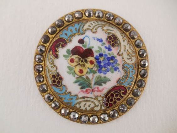 Page button auction.  Beautiful pansy enamel button with cut steel border.  19th century.