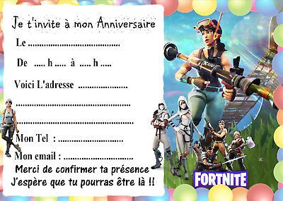 invitation anniversaire fortnite a