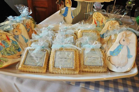 Detailed sugar cookies at a Peter Rabbit baptism party!   See more party planning ideas at CatchMyParty.com!