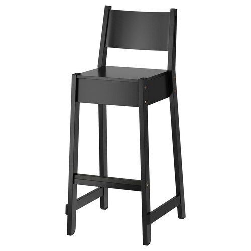 Nordviken Bar Stool With Backrest Black 29 1 2 In 2020 With