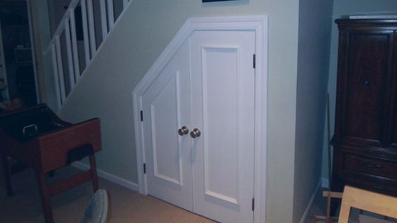 Basement ideas stairs and doors on pinterest for Door under stairs