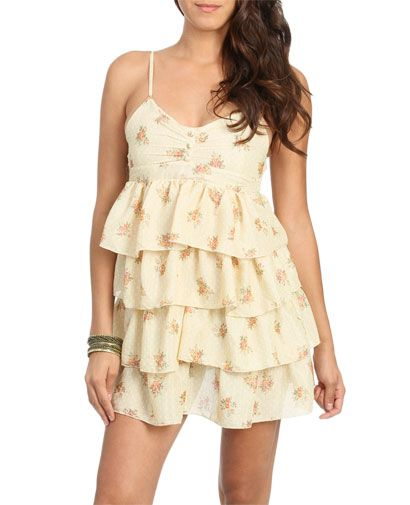 Tiered Printed Dress (Doeskin). Wet Seal. $24.50