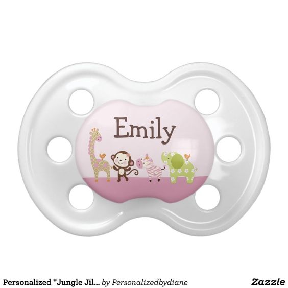 Personalized Jungle Jill/Girl Animals Pacifier pacifiers by