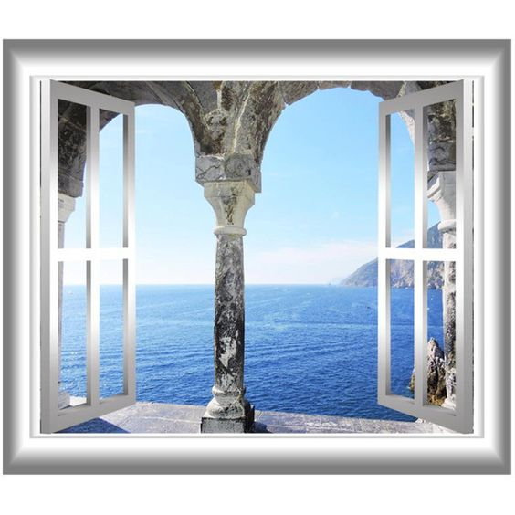 Mediterranean Ocean 3D Window Frame Wall Decal Greece Ocean View Wall... (£11) ❤ liked on Polyvore featuring home, home decor, wall art, sea home decor, peel and stick wall stickers, peel and stick decals, greek home decor and peel and stick wall decals