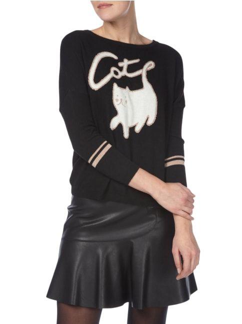Pinko Pullover mit Katzen-Motiv Schwarz - 1