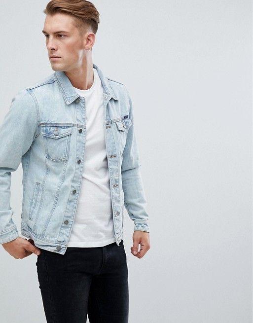 Pull Bear Denim Jacket In Light Blue Mens Fashion Denim Blue Denim Jacket Outfit Light Blue Jean Jacket