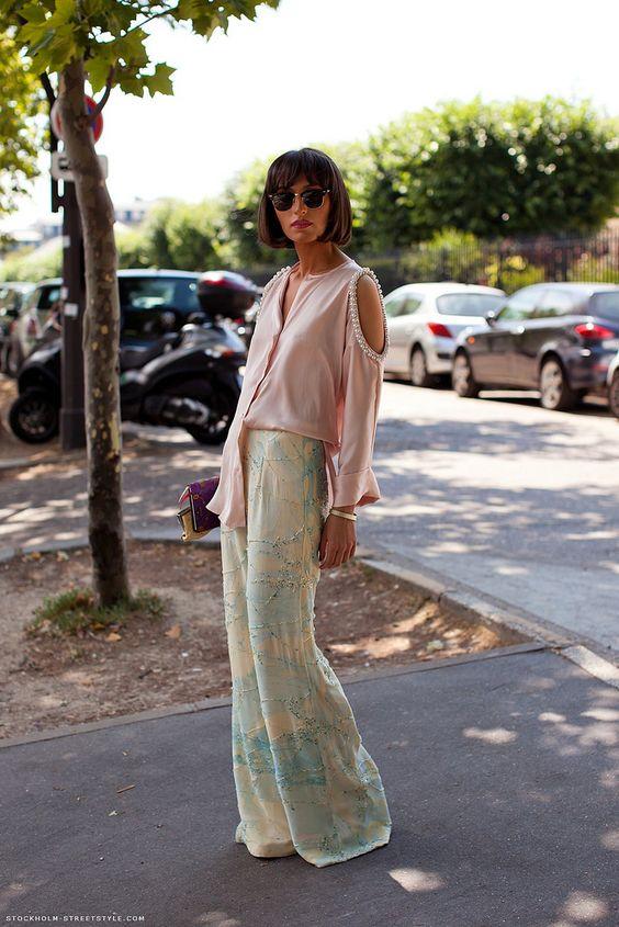 Robe longue + Couleur pastel = Glamour !