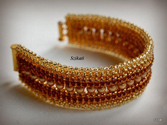 Kostenloser Versand elegante Gold Pearl/Samenperle Anweisung Armband, Kunst…