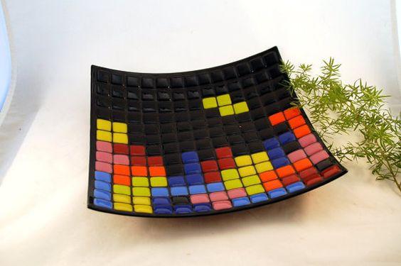 Large Fused Glass #Tetris Art Plate ($65): Glass Art, Fused Glass, Geeky Crafts, Glass Tetris, Ceramic