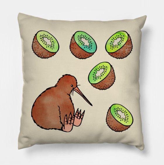 Kiwi Throw Pillow By Olooriel On Teepublic Kissen Decken Kissen