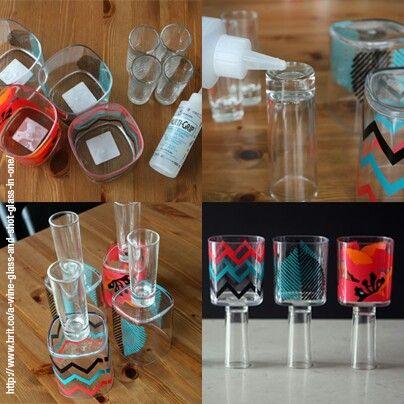 Copas originales, sólo necesitas un vaso, un caballito y pegamento epoxico