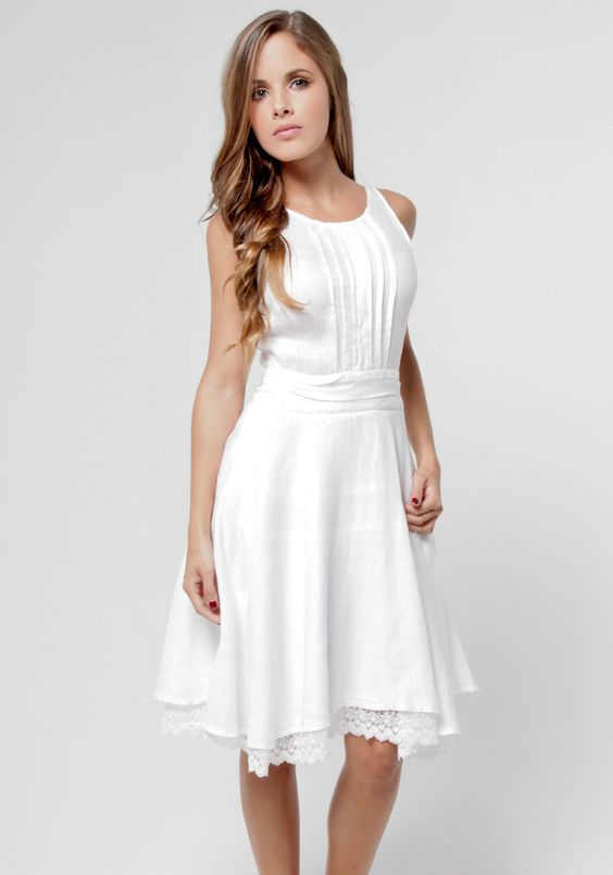 100% Linen Lightly Pleated Day Dress With Lace Underlay in White ...