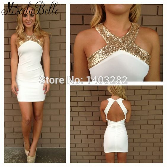 White Gold Sequins Short Tight Cocktail Dresses Sexy Halter ...