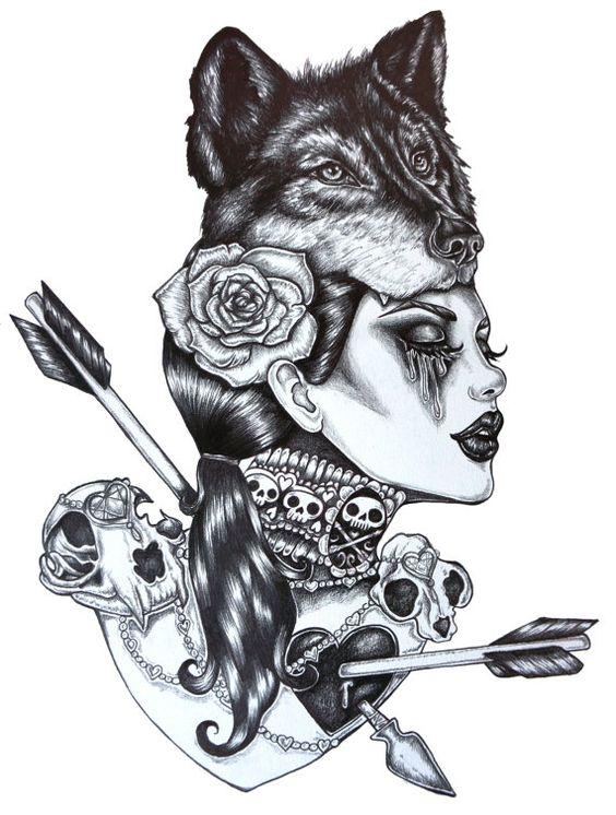 Lone Wolf - Archiv 12 x 16 pouces Dark Gothic Art Pin Up Tattoo Wolfs tête flèches chauffe crânes noir et blanc dessin illustration
