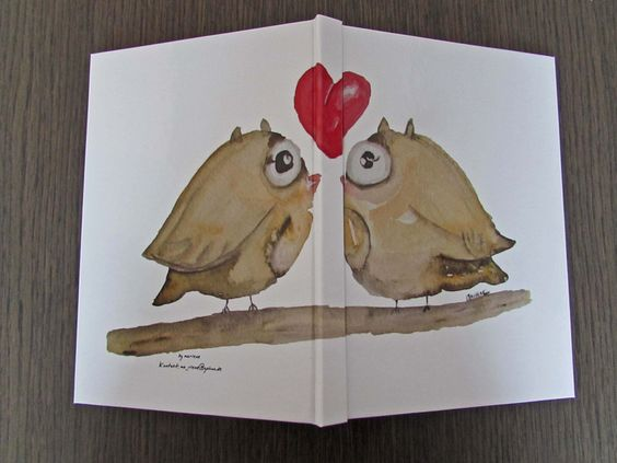DIN A5 - Notizbuch Hardcover mit Eulenmotiv - ein Designerstück von by-marlene bei DaWanda