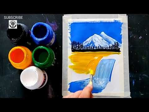 Easy And Simple Scenery Painting For Beginners Step By Step Poster Colour Painting Youtube Poster Color Painting Easy Paintings Poster Colour