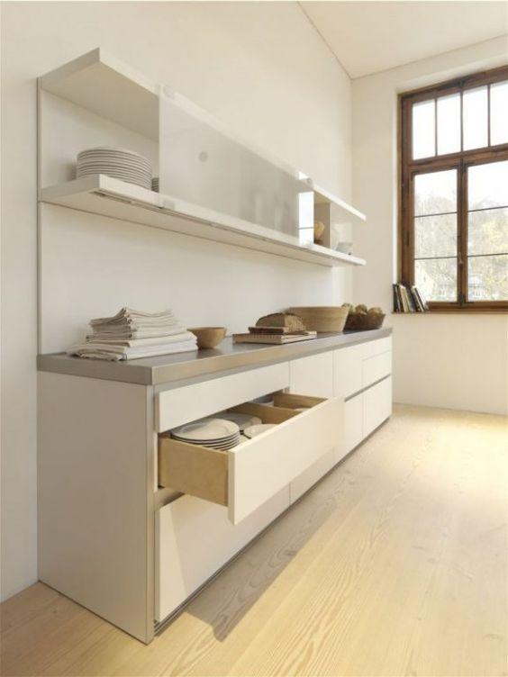 stauraum für die küche * weiße küchenzeile * schubladen und
