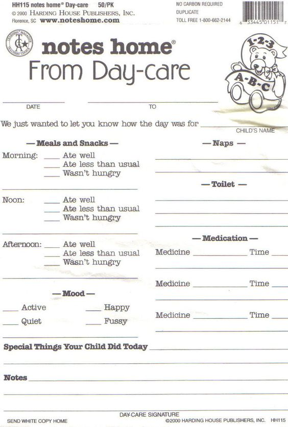 Daycare Daily Report Sheets Infant Reports For Printable...I like ...