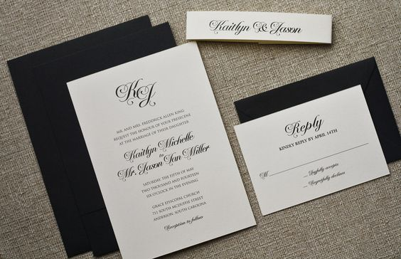 Black Tie Wedding Invitation, Classic Black and White Wedding Invites. Printable files for sale on Etsy.