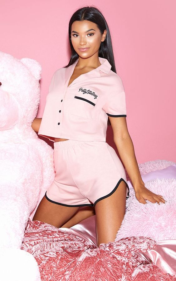 PRETTYLITTLETHING Pale Pink Embroidered Short PJ Set SOYVIRGO.COM