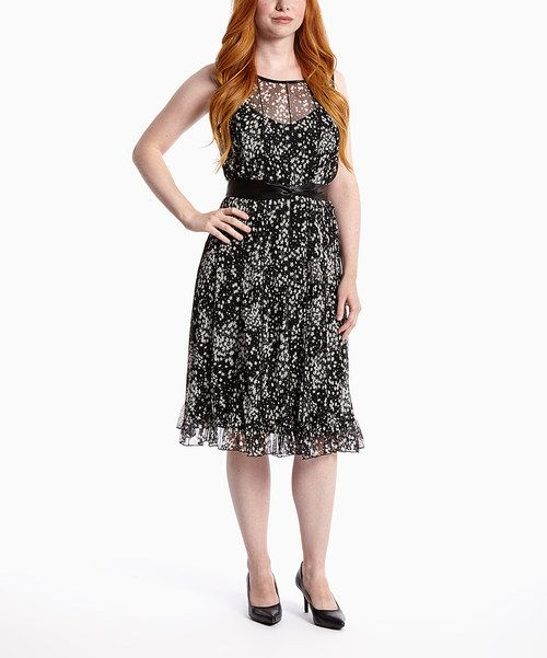 Look at this Black Flower Tie-Waist Dress on #zulily today!