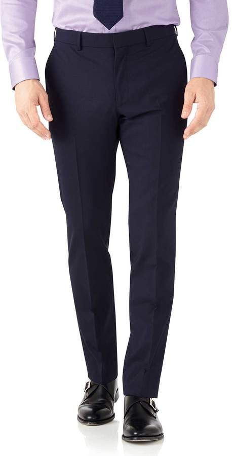 Navy Blue Slim Fit Performance Suit Wool Stretch Pants Size W36 L32 by Charles Tyrwhitt