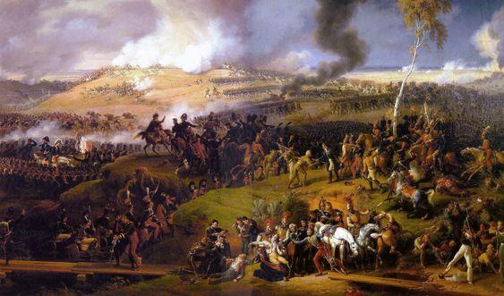 Guerra y Paz, Tolstoi 1869. Labatalla de Borodinóes uno de los principales acontecimientos históricos en torno a los que gira gran parte de la novela y es detallada minuciosamente por Tolstoí. Tuvo lugar el 7 de septiembre de 1812. Pintura deLouis-François Lejeune.