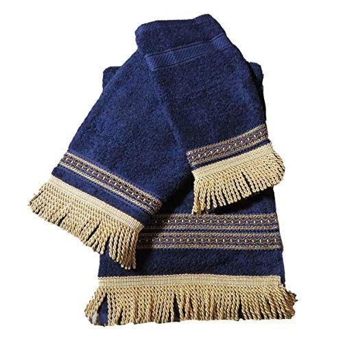3 Piece Decorative Towel Set Navy Blue With Gold Trim Ca Https Www Amazon Com Dp B07m6hsnfl Ref Cm Sw R Pi Dp X 4 Decorative Towels Towel Set Plaid Scarf