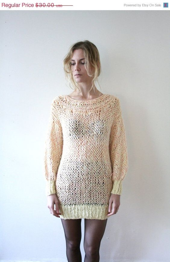 CYBER MONDAY SALE Vintage 80s Peach and Gold Hand Knit Sweater Dress // Long Sheer Sweater. $25.50, via Etsy. #vintage #fashion   #style #cybermonday #sale #vintagesale #vintageshopping #stores