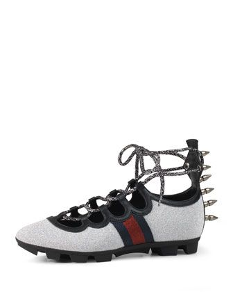 Titan Glitter Lace-Up Spike Sneaker, Argento by Gucci at Neiman Marcus.