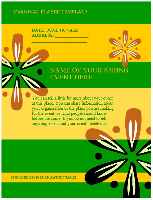 Carnival Flyer Template Flyers and Brochures Pinterest Flyer - flyer format word