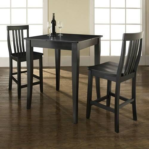 Crosley Furniture KD320003BK 3 Piece Pub Dining Set with Cabriole Leg and School House Stools in Black Finish