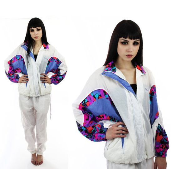 Neon 90s Reebok Windbreaker Jacket Vintage Colorblocked Suit Pants ...