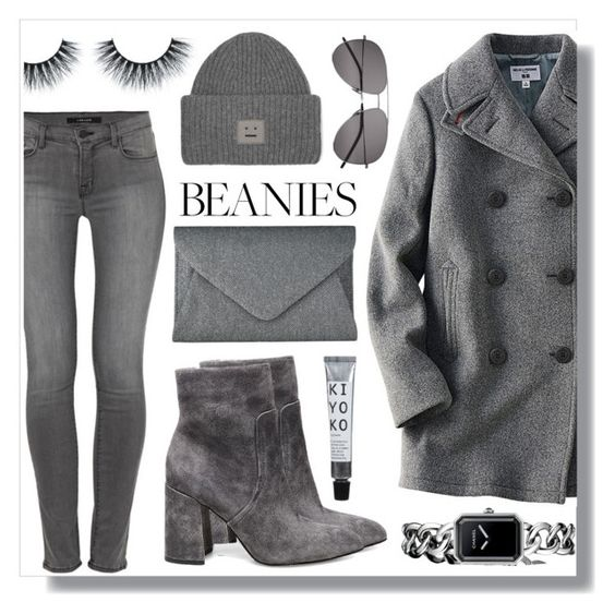 """""""Grey Beanie"""" by skad183 on Polyvore featuring Acne Studios, Uniqlo, J Brand, Yves Saint Laurent, John Lewis, Steve Madden and Chanel"""