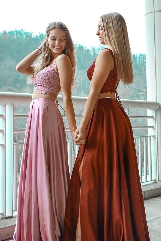 Gorgeous Two Piece Prom Dresses Pink Long Prom Dresses Burgundy Prom Dresses 2019 Prom Dresses Prom Dresses Long Pink Burgundy Prom Dress Prom Dresses Long