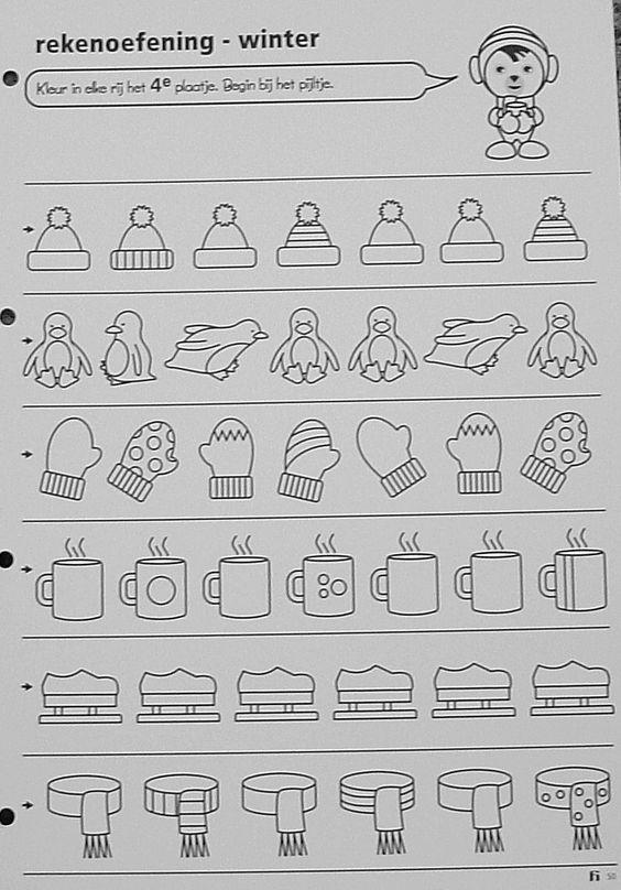 Werkblad : kleur in elke rij het 4de plaatje