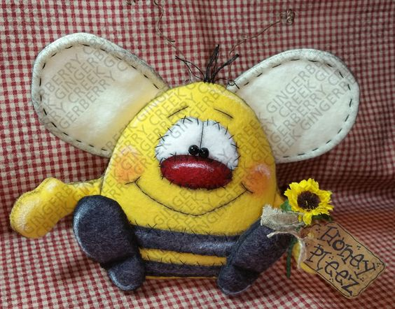 Honey Pleez Bumble Bee Pattern #179 - Primitive Doll Pattern by GingerberryCreek on Etsy https://www.etsy.com/listing/246859077/honey-pleez-bumble-bee-pattern-179